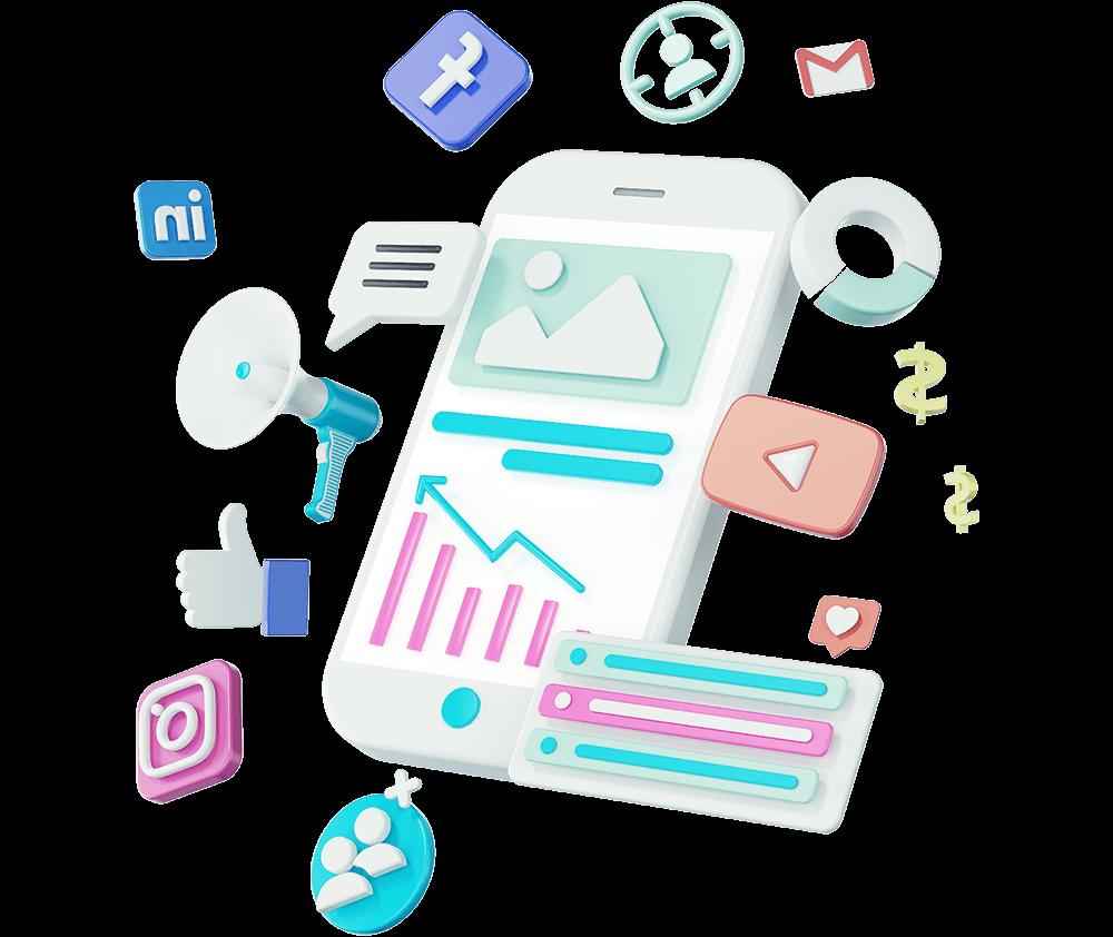 social-media-3d-illustration